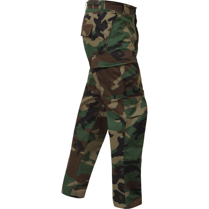 Woodland Camouflage - Military BDU Pants - Cotton Ripstop