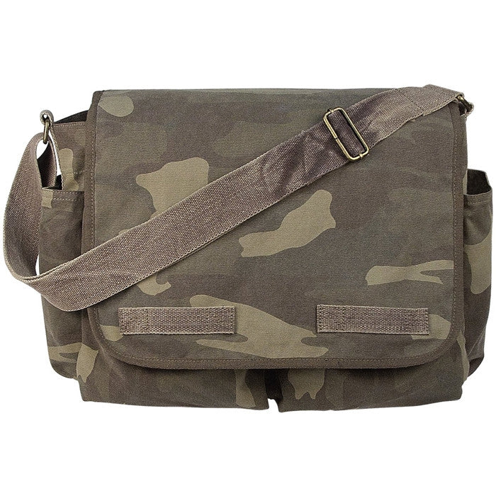 Woodland Camouflage - Vintage Army Messenger Bag - Army Navy Store febc7e6ab56