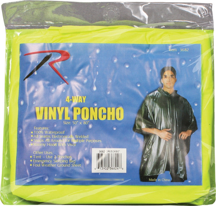 Neon Green - Hooded Pocket Ponchos - Vinyl