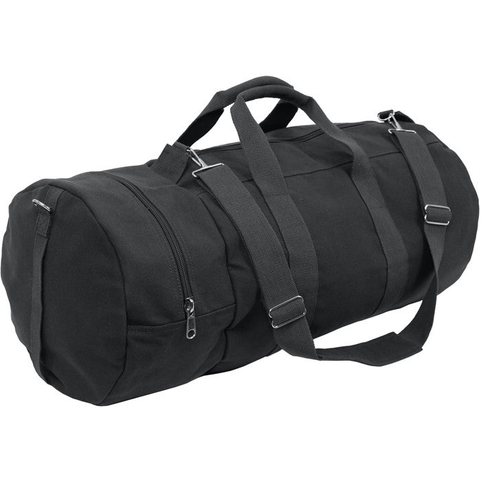 Black - Military Double-Ender Sports Shoulder Bag - Cotton Canvas