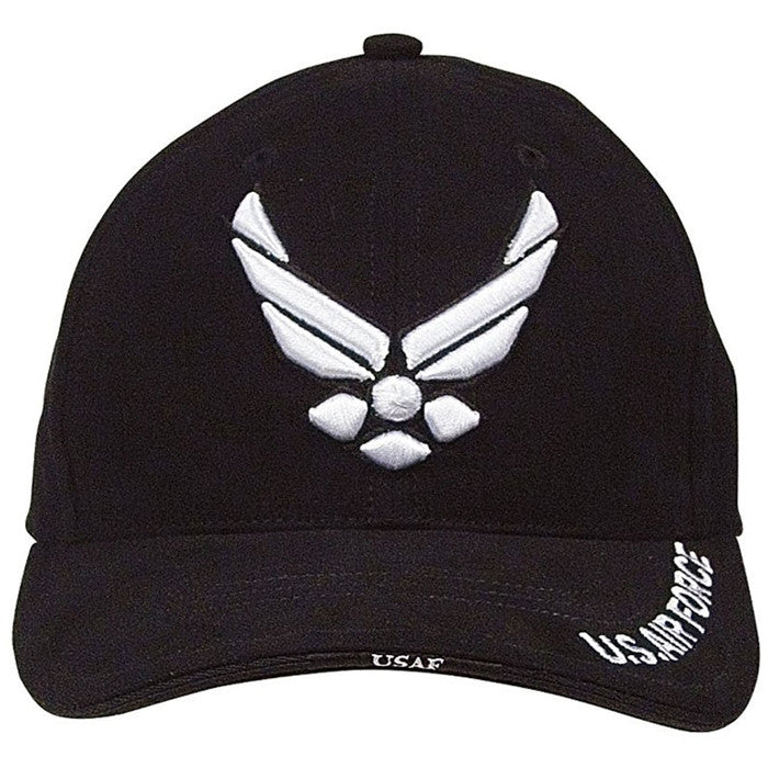 Black - US AIR FORCE Deluxe Adjustable Cap with US Air Force Emblem