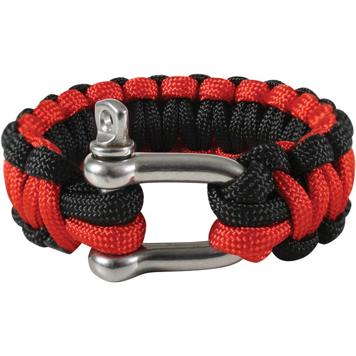 Red   Black - D Shackle Closure Cobra Weave Paracord Bracelet