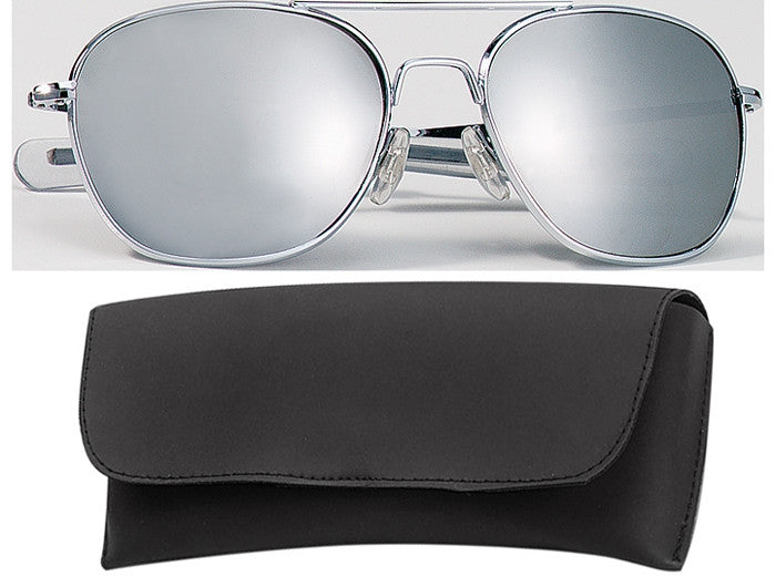 Chrome - Military 52mm Air Force Pilots Aviator Sunglasses with Case - Mirror Lenses
