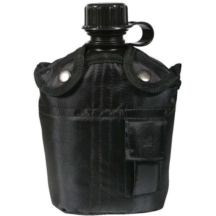 Black - 3 Piece Complete 1 Quart Canteen kit with Aluminum Cup