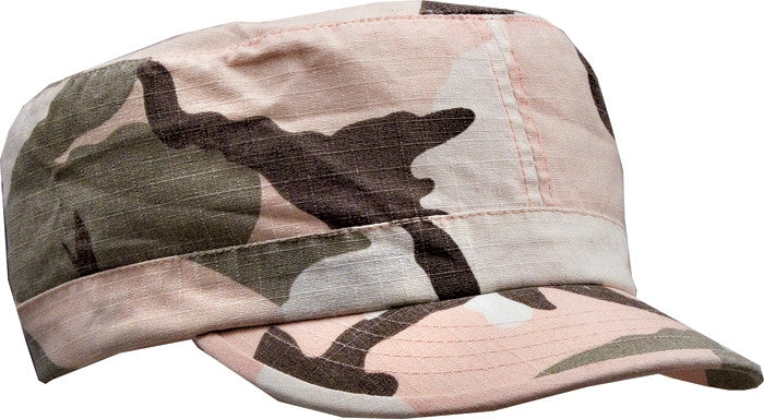 Subdued Pink Camouflage - Womens Vintage Adjustable Fatigue Cap - Cotton Ripstop