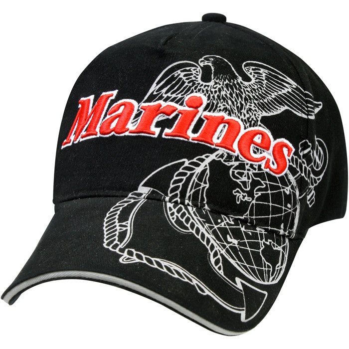Black - Globe & Anchor Marines Deluxe Low Profile Adjustable Baseball Cap