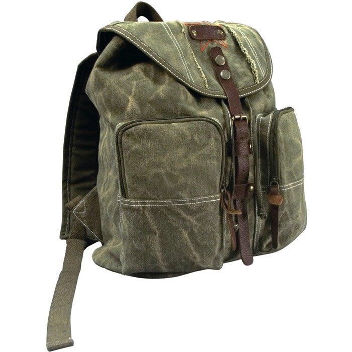 Olive Drab - Vintage Army Style Backpack with Leather Strap - Stonewashed
