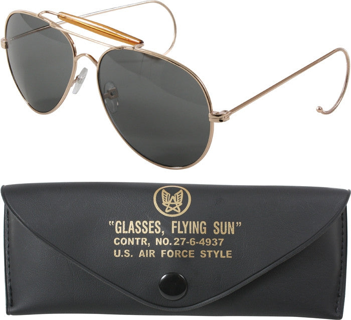 62cc95c53d7 Gold - US Air Force Style Aviator Sunglasses with A Class UV Acrylic Lens    Case - Army Navy Store