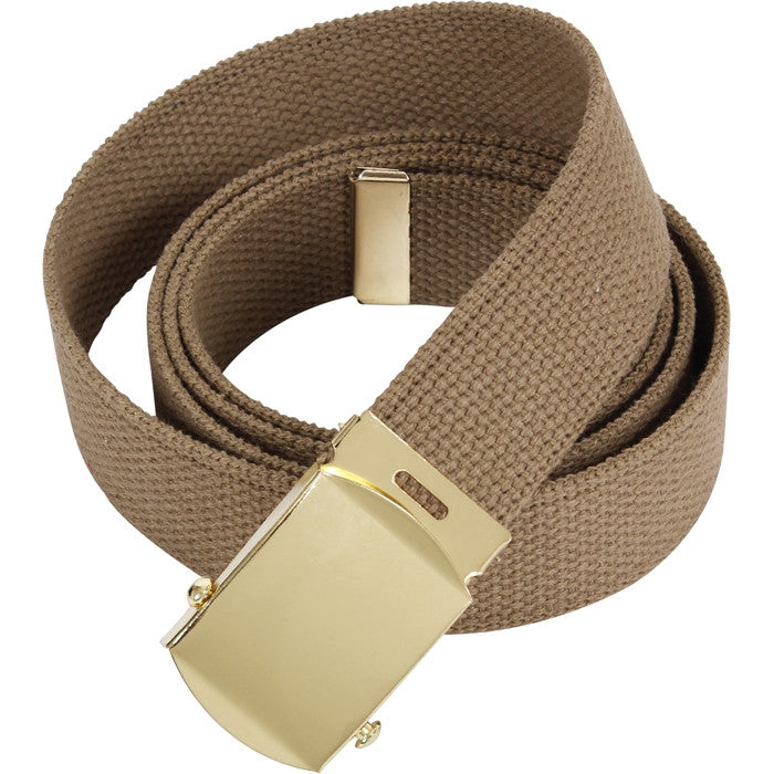 Coyote Tan - Military Web Belt with Brass Buckle 4177 54 in.