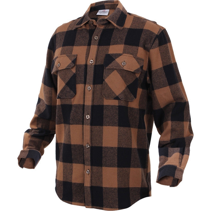 Brown black buffalo plaid extra heavyweight brawny for Brown and black plaid shirt