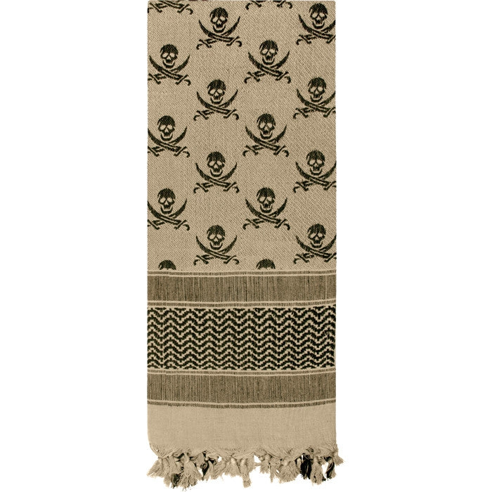 Tan   Black - Skulls Pattern Shemagh Tactical Desert Scarf