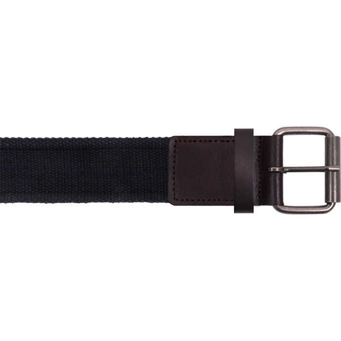 Black - Vintage Single Prong Web Belt With Leather
