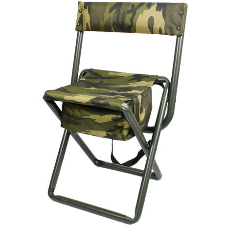 woodland camouflage military style deluxe folding stool with back pouch army navy store. Black Bedroom Furniture Sets. Home Design Ideas