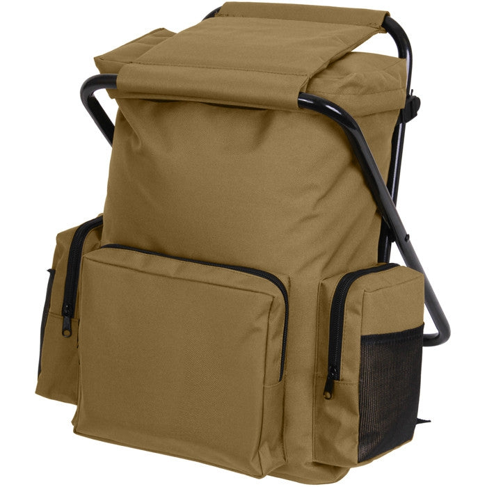 Coyote Brown - Military Deluxe Backpack and Foldable Stool Combination - Nylon