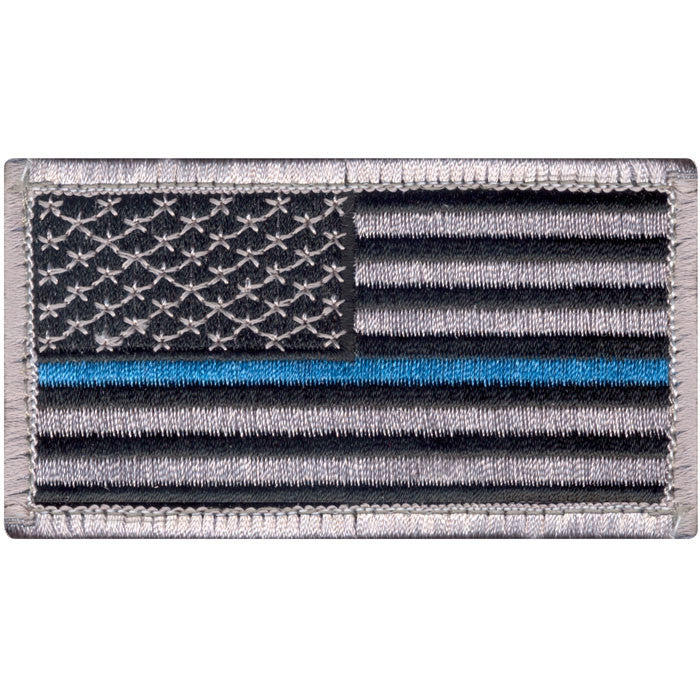 Thin Blue Line in.Support the Police in. U.S. Flag Patch