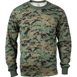 Digital Woodland Camouflage - Military Long Sleeve T-Shirt