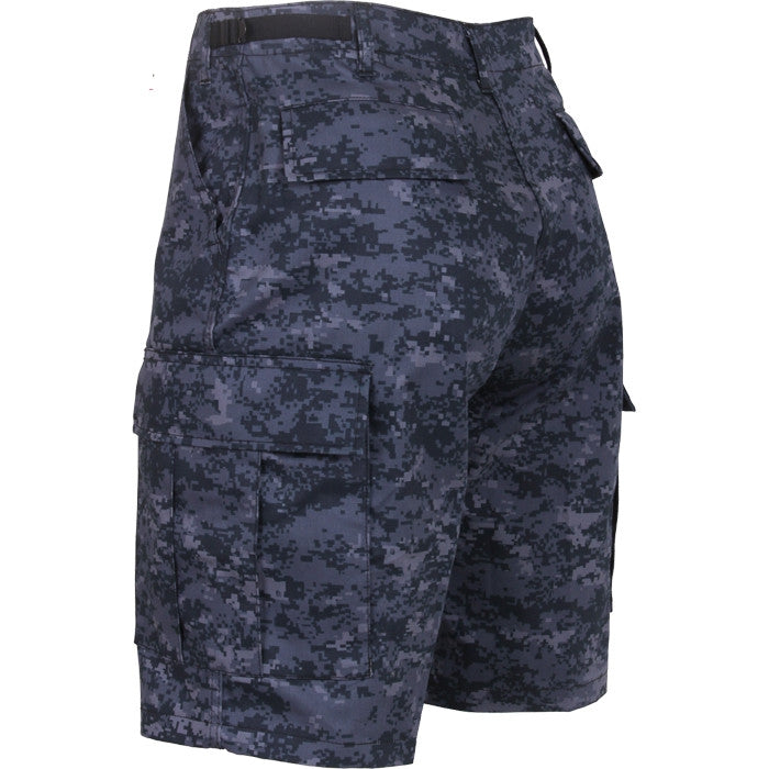 Digital Midnight Camouflage - Military Cargo BDU Shorts (Polyester/Cotton Twill)