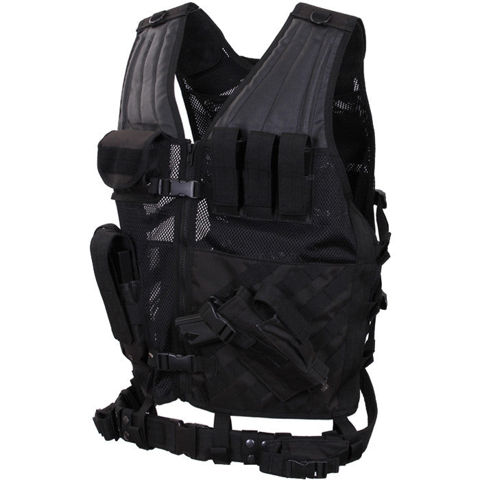 Black - Oversized MOLLE Compatible Cross Draw Tactical Vest