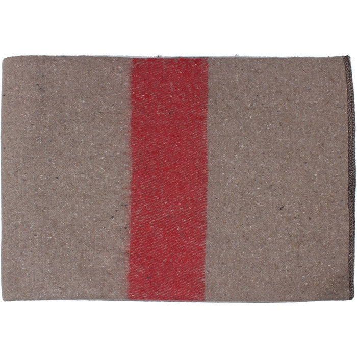 Tan Red Strip - Swiss Style Wool Blanket