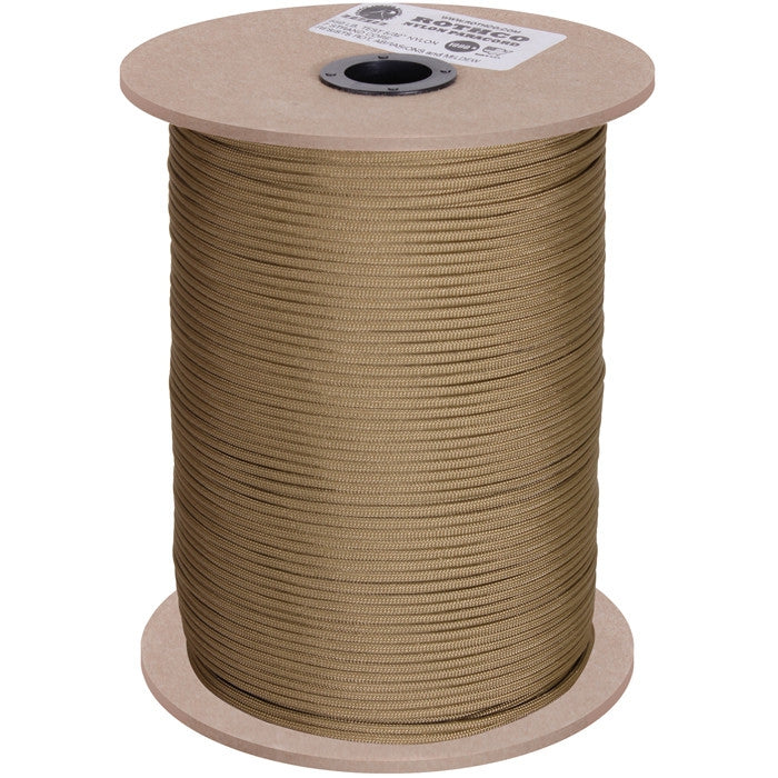 Coyote Brown - Military Grade 550 LB Tested Type III Paracord Rope 1000' - Nylon USA Made