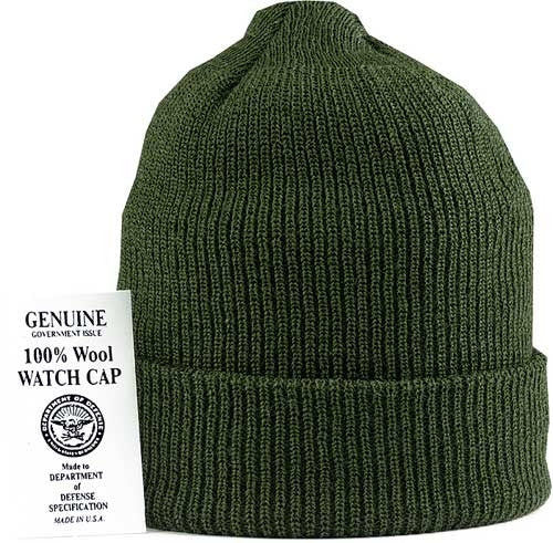 Olive Drab - Genuine GI US Navy Watch Cap - Wool USA Made
