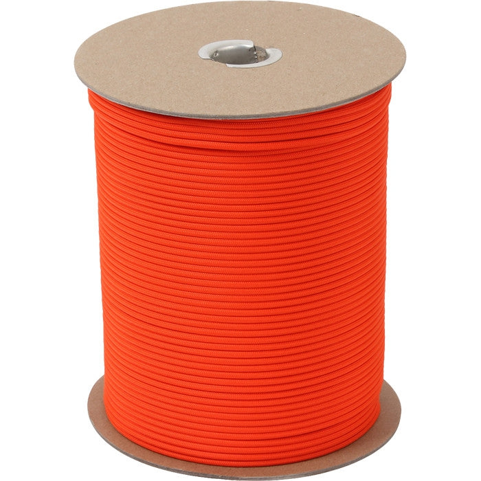 Safety Orange - Military Grade 550 LB Tested Type III Paracord Rope 1000' - Nylon USA Made