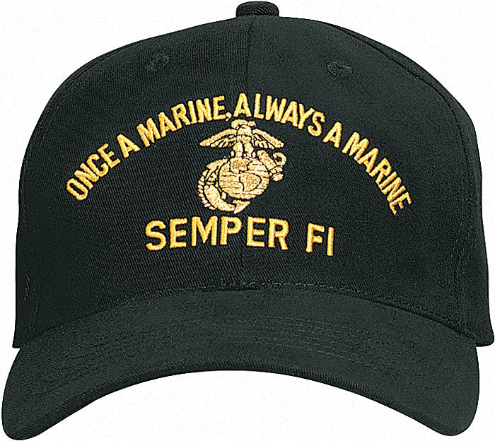 Black - ONCE A MARINE ALWAYS A MARINE Adjustable Cap with Globe and Anchor Emblem