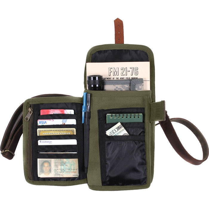 Olive Drab - Tactical Canvas Travel Portfolio shoulder bag With Leather Accents
