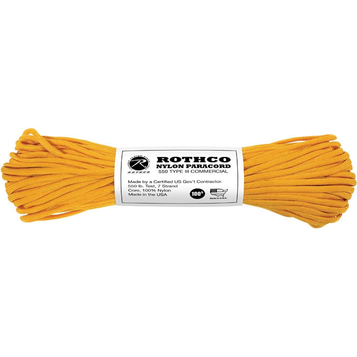 Goldenrod - Military Grade 550 LB Tested Type III Paracord Rope 100' - Nylon USA Made