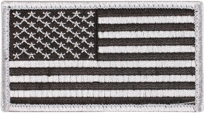 Silver Black - US Flag Patch with Hook and Loop Closure