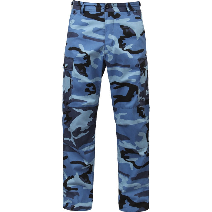 Sky Blue Camouflage - Military BDU Pants - Polyester Cotton Twill