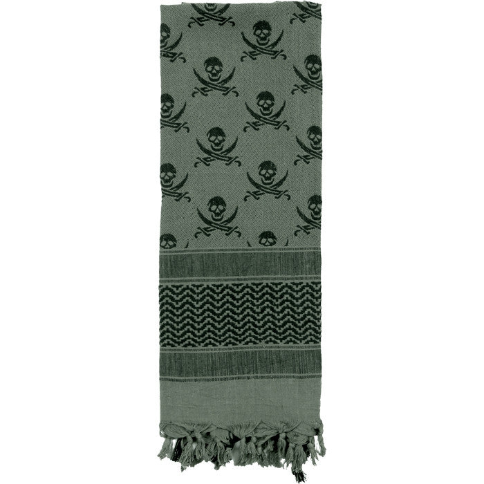 Foliage   Black - Skulls Pattern Shemagh Tactical Desert Scarf