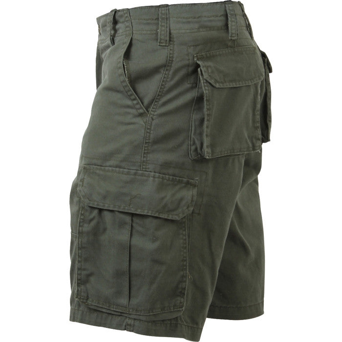 Olive Drab - Military Vintage Paratrooper Cargo Shorts