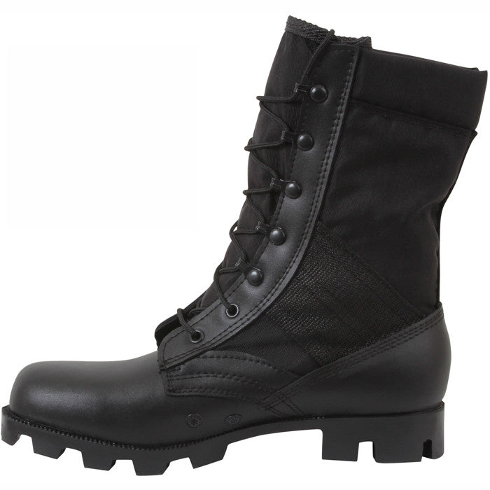 Black - Panama Sole Military Speedlace Jungle Boots - Leather 9 in.