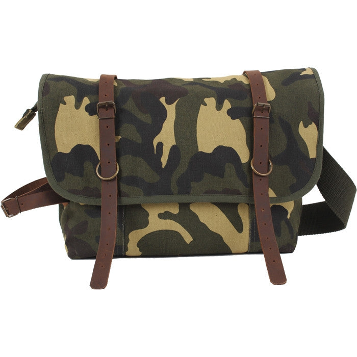 Woodland Camouflage - Vintage Canvas Explorer Shoulder Bag with Leather