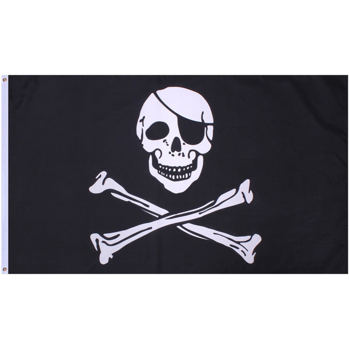 Black - Jolly Roger Emblem Flag 3' x 5'