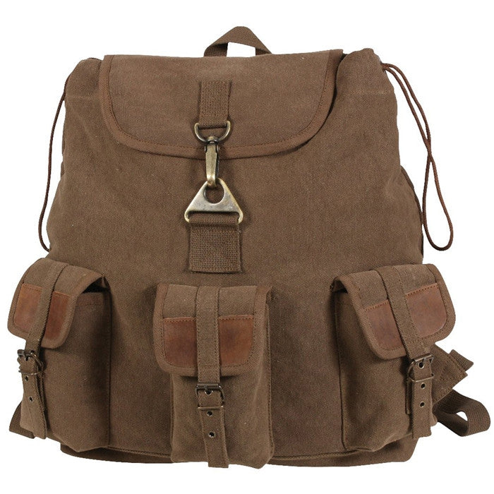 Earth Brown - Teardrop Wayfarer Travel Backpack with Leather Accents