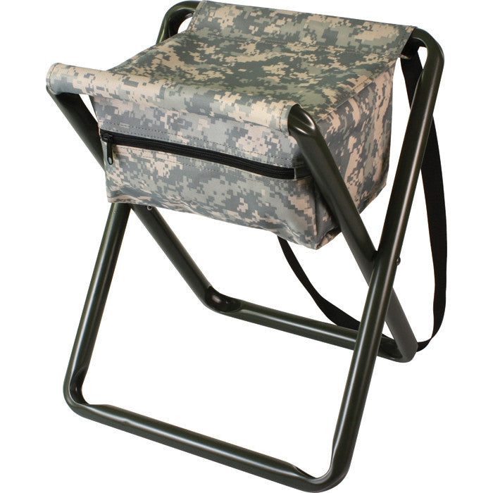 ACU Digital Camouflage - Military Deluxe Folding Stool with Pouch
