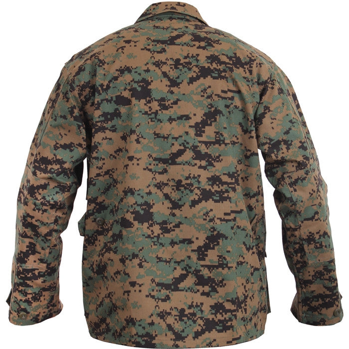 Digital Woodland Camouflage - Military BDU Shirt - Cotton Polyester
