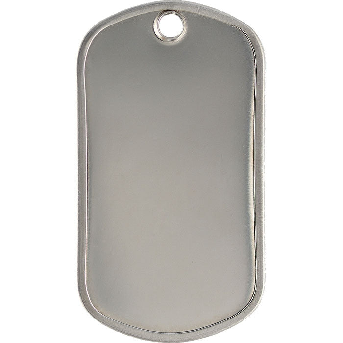 Silver - Military GI Style Stainless Steel Dog Tag with Matte Finish