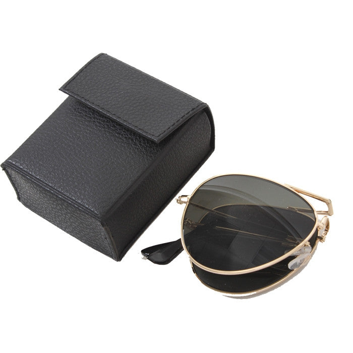 Gold - Military GI Style Folding Pilots Aviator Sunglasses with Case - Smoke Lenses