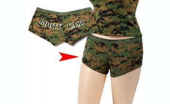 1517c9d010 Digital Woodland Camouflage - Womens BOOTY CAMP Booty Shorts - Army ...