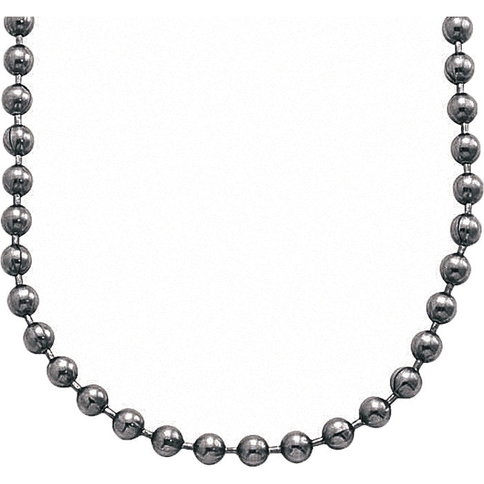 Silver - Stainless Steel Long Fashion Military Bead Chain Necklace 27 in. USA Made