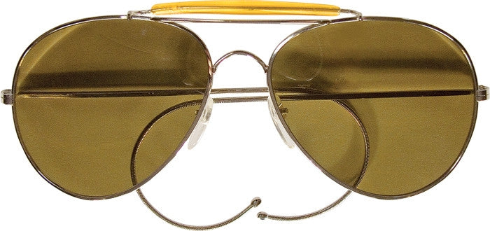 Gold - US Air Force Style Aviator Sunglasses with A Class UV Acrylic Lens & Case