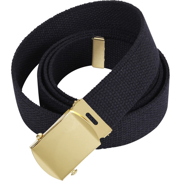 Black - Military Web Belt with Gold Brass Buckle