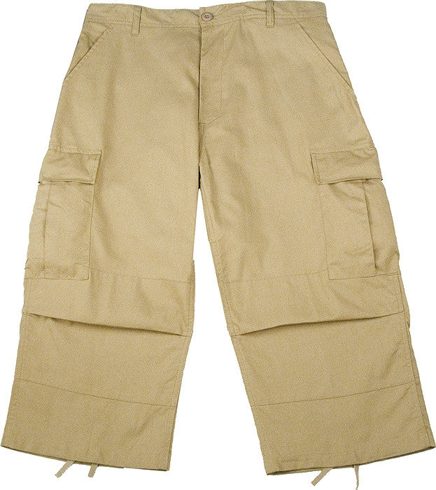 Khaki - Military BDU Capri Pants - Cotton Ripstop