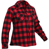 Red Plaid - Womens Button Down Flannel Shirt
