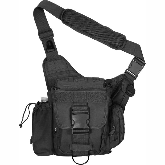 Black - Military MOLLE Compatible Advanced Tactical Shoulder Bag