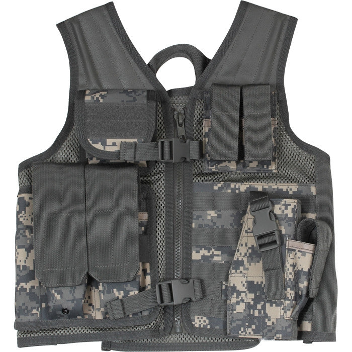 ACU Digital Camouflage - Kids MOLLE Compatible Cross Draw Tactical Vest