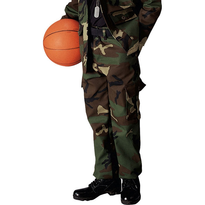 Woodland Camouflage - Kids Military BDU Pants - Polyester Cotton
